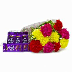 Ten Colourfull Carnations Bouquet with Bars of Cadbury Dairy Milk Chocolates