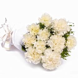 Ten Grizzled White Carnations in Tissue Wrapped
