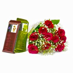 Ten lovely Red Roses Bouquet with Bars of Temptation Chocolate