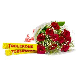 Ten lovely Red Roses with Toblerone Chocolate Bars