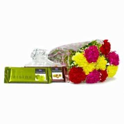 Ten Mix Carnation Boquet with Cadbury Temptation Chocolates
