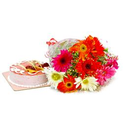 Ten Multi Color Gerberas with Strawberry Cake