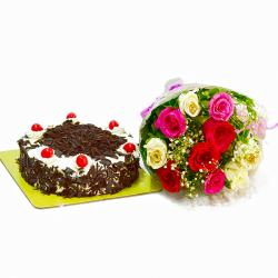 Ten Multi Roses Bunch with Black Forest Cake