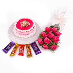 Ten Pink Carnations Bouquet with Strawberry Cake and Cadbury Chocolates