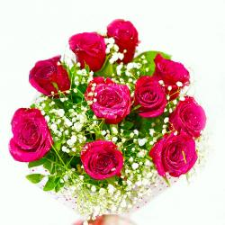 Ten Pink Colour Roses Hand Tied Bunch