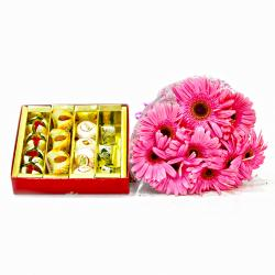 Ten Pink Gerberas Bouquet with Assorted Sweet Box