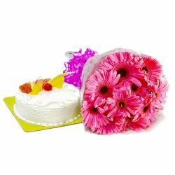 Ten Pink Gerberas Bunch with Pineapple Cake