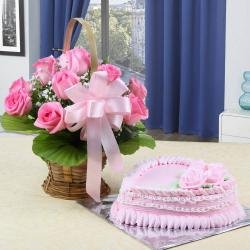 Ten Pink Roses Arrangement with Strawberry Cake