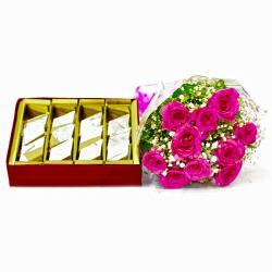 Ten Pink Roses Bouquet with Kaju Barfi