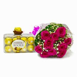 Ten Pink Roses Bunch with 16 pcs Ferrero Rocher Chocolate Box