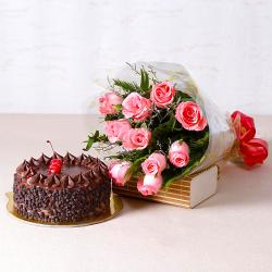 Ten Pink Roses with Choco Chips Chocolate Cake