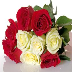 Ten Red And White Roses Bouquet