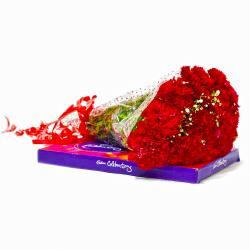 Ten Red Carnations Bouquet with Cadbury Celebration Chocolate Box