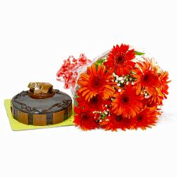 Ten Red Gerberas Bouquet and Chocolate Cake