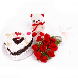 Ten Red Roses and Heartshape Black Forest Cake with Teddy Bear