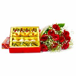 Ten Red Roses Bouquet with 500 Gms Assorted Sweet Box