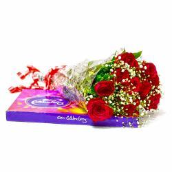 Ten Red Roses with Cadbury Celebration Chocolate Box
