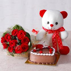 Ten Red Roses with Teddy Bear and Heart Shape Chocolate Cake