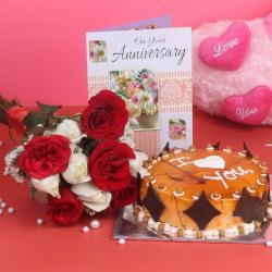 Ten Roses Bouquet and Eggless Butterscotch Cake