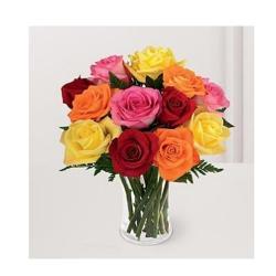 Ten Roses in glass vase