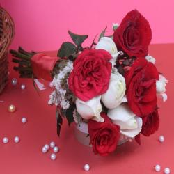 Ten White and Red Roses Bouquet