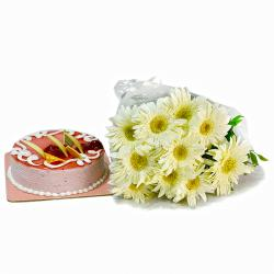 Ten White Gerberas with Strawberry Cake