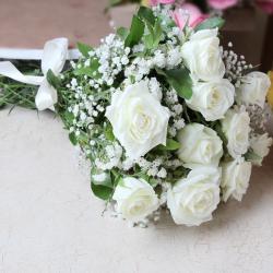 Ten White Roses Bouquet