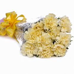 Ten Yellow Carnations in Cellephane Packing