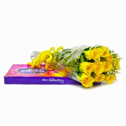 Ten Yellow Roses Bouquet and Cadbury Celebration Chocolate Box