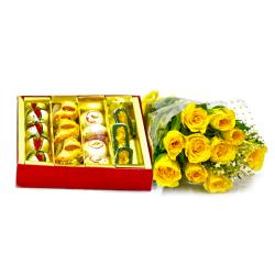 Ten Yellow Roses Bouquet with 1 Kg Assorted Kaju Sweet Box