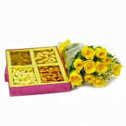 Ten Yellow Roses Bouquet with Basket of Mix DryFruit