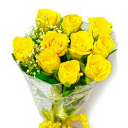 Ten Yellow Roses Hand Tied Bouquet