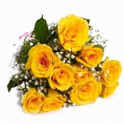 Ten Yellow Roses Hand Tied Cellophane Wrapped