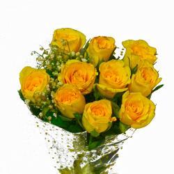 Ten Yellow Roses Hand Tied