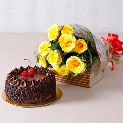 Ten Yellow Roses with Choco Chips Chocolate Cake