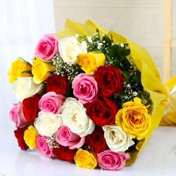 Terrific Twenty Five Colorful Roses Bouquet