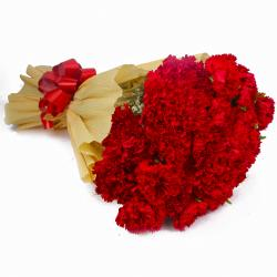 Thirty Red Carnations in Tissue Wrapping