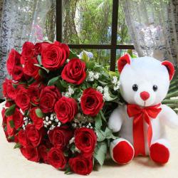 Thirty Red Roses Bouquet with Teddy Bear