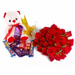 Thirty Red Roses Bunch and Cute Teddy Bear with Mix Cadbury Chocolates