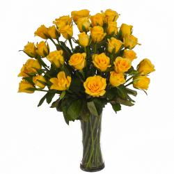 Thirty Yellow Roses in Glass Vase