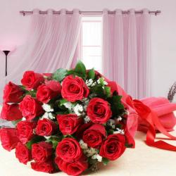 Tissue Wrapped Eighteen Red Roses Bouquet