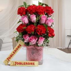 Toblerone Chocolates and Mix Flower Vase Combo