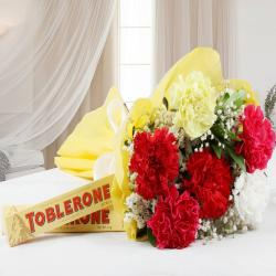 Toblerone Chocolates with Colorful Carnations Bouquet