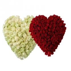 Togetherness with Heart Shape Roses Arrangement