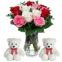 Trio color Roses vase with 2 Teddies