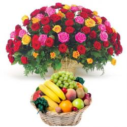 Tropical Fruit Basket with 100 Roses