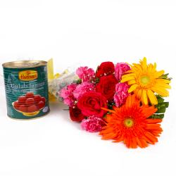 Twelve Fresh Seasonal Flowers Bunch with Gulab Jamuns