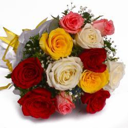 Twelve Mix Roses in Tissue Wrap Bunch