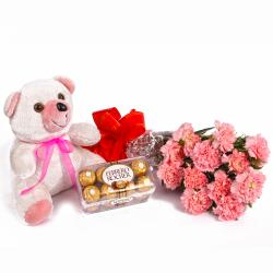 Twelve Pink Carnations and 16 Pcs Ferrero Rocher with Teddy Bear