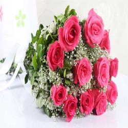 Twelve Pink Roses Bouquet